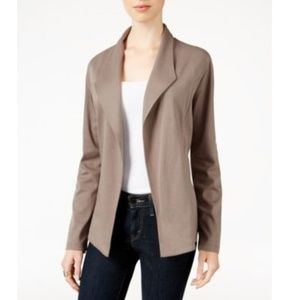 Style & Co. Grey Open-Front Long Sleeves Blazer